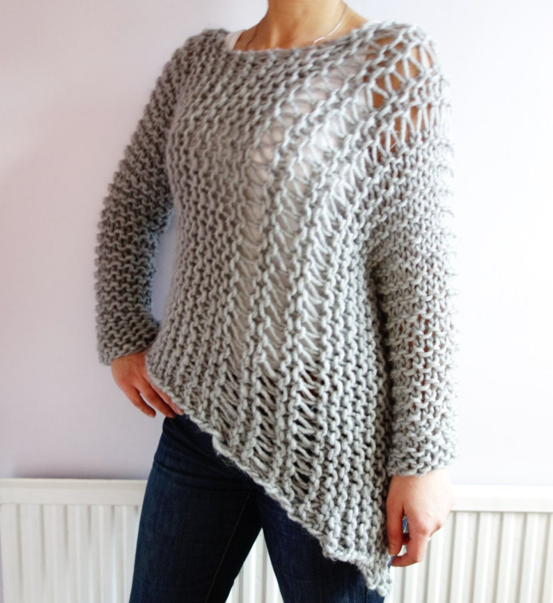 b9fadf3e3 Sweater Knitting PATTERN Funky Bulky Asymmetrical Sweater