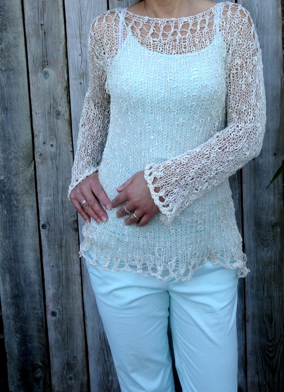Knitting Pattern Sorrento Sweater Loose Knit Beach Cover Etsy