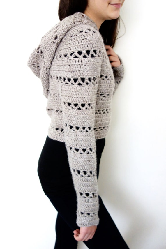 Sweater Crochet Pattern Hooded Cropped Sweater Chunky Knit Etsy