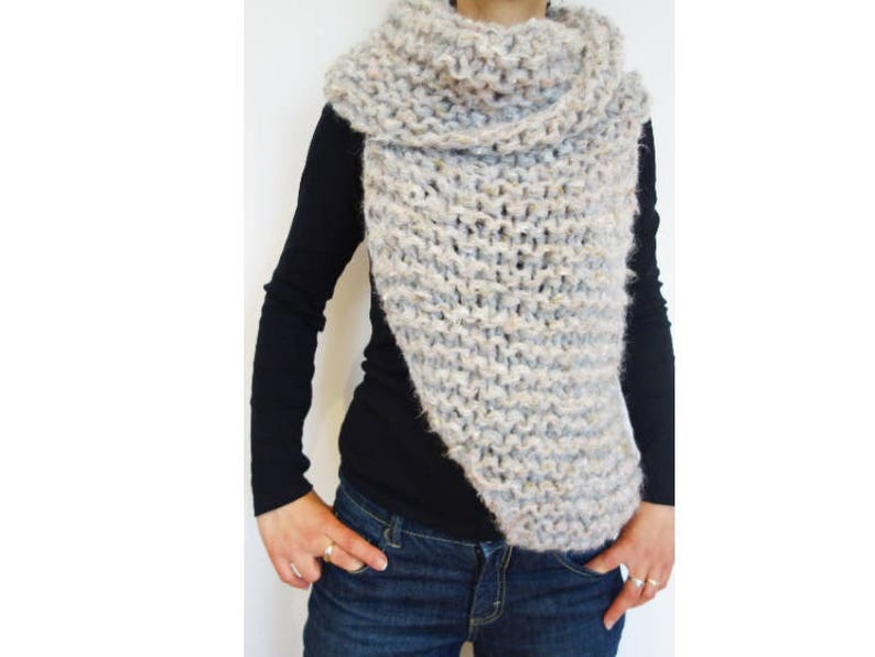 5f40b85b6edcf Knitting PATTERN Super Chunky Asymmetrical Wrap  Easy Knit