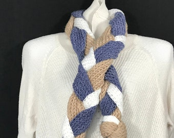 Cross Scarf-Blue, Tan and White Knit and Braided