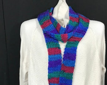 Wrap Scarf-Thin Blue, Green and Red Stripe
