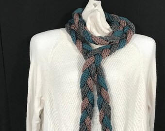 Wrap Scarf-Brown, Green and Gray Knit and Braided