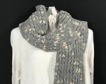 Wrap Scarf-Gray with Beige Flecks Super Soft