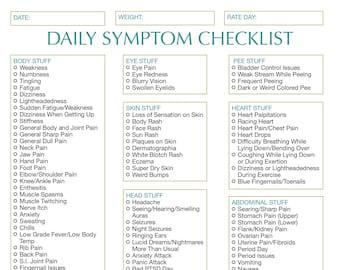 Chronic Illness Easy Symptom Checklist-Daily with Monthly Summary