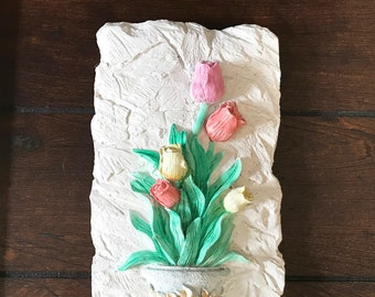 Repurposed Salvage-Hand Painted Resin Plaque with Warm Color Tulips