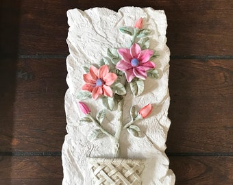 Repurposed Salvage-Hand Painted Resin Flower Plaque with Pink and Orange Flowers
