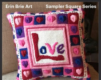 Love-Sampler Square Series-Digital Needlepoint/Cross Stitch Pattern and Instructions