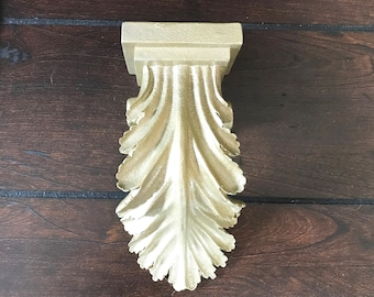 Repurposed Salvage-Gold Painted Resin Wall Sconce