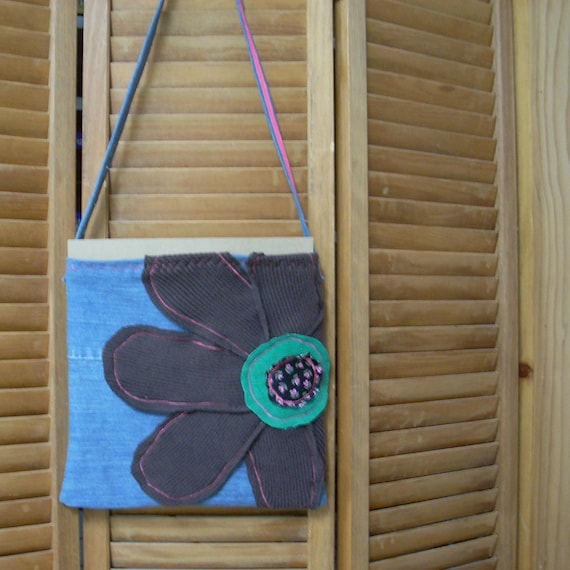 "Repurposed 12"" Boho Flower Tote #5"