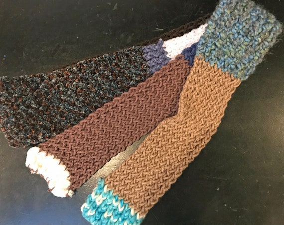 Brown and Blue Thin Patch Scarf