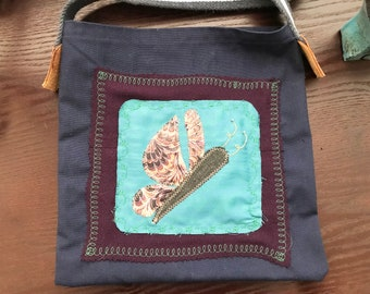 Medium Repurposed Fabric Tote-Butterfly #1
