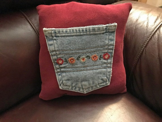 Repurposed Clothes Pocket Pillow Floral Denim on Red