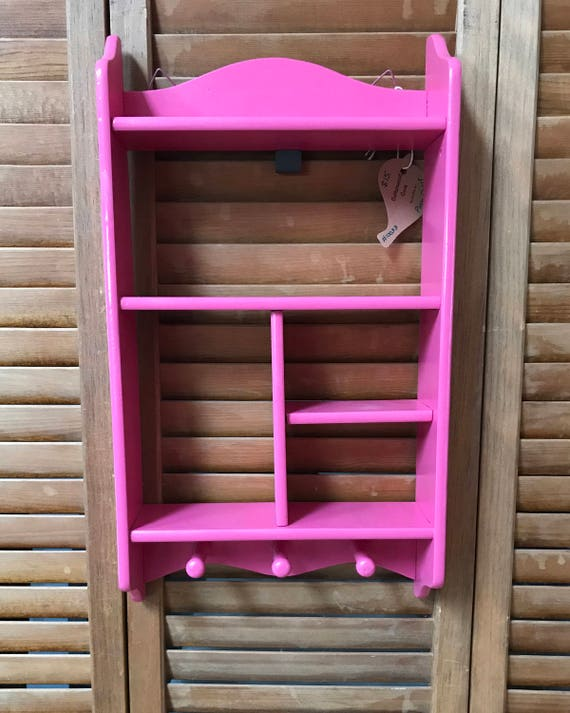Vintage Wood Shelf in Pink Salvage Art