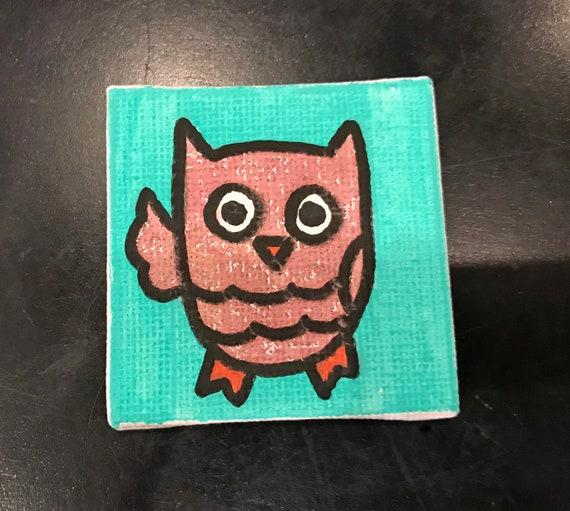 Owls 2018 #5 Tiny Magnet Original Illustration