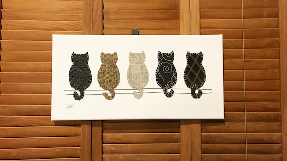 Cats on Fence #2 Fabric Wall Art