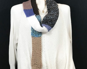Wrap Scarf-Blue and Brown Patch