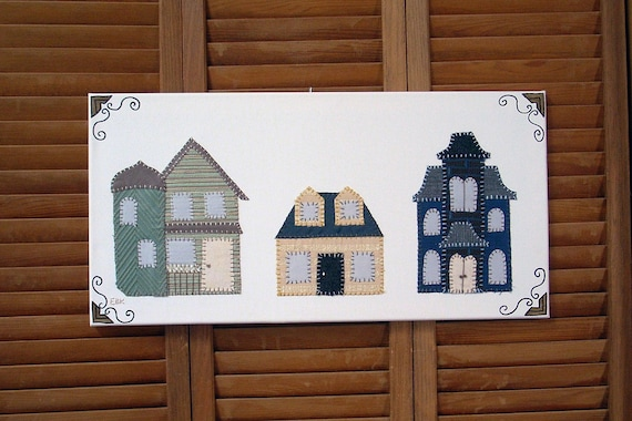 3 Houses #1 Fabric Wall Art