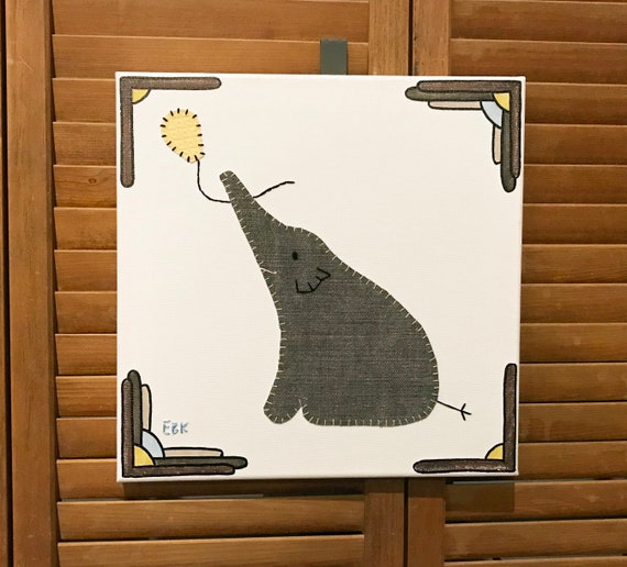 Elephant with Balloon #11 Fabric Wall Art