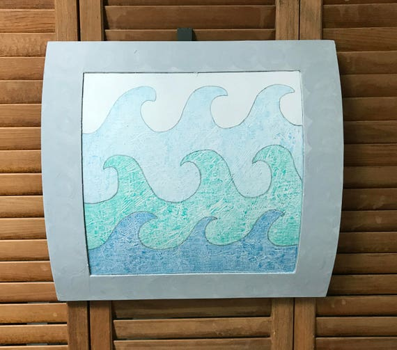 Repurposed Wall Drum Curly Waves Original Illustration Salvage Art