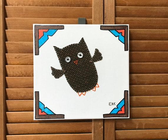Flying Owl #4 Fabric Wall Art