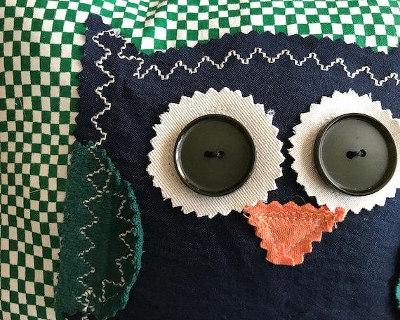 Owl Pillow #3 Made from Repurposed Clothes