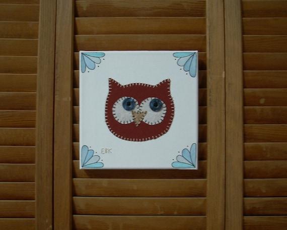 Owl Head #5 Fabric Wall Art