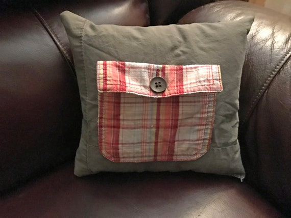 Red Plaid on Gray Repurposed Clothes Pocket Pillow