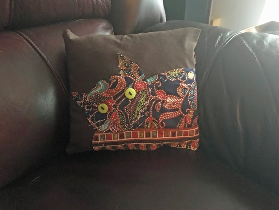 Repurposed Wrap Cat Pillow Red and Blue Print on Brown