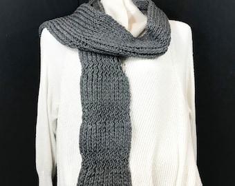 Wrap Scarf-Gray Alternating Knit