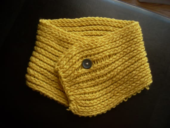 Gold Short Hand Knit Scarf with Button Closure