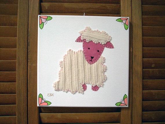 Sitting Lamb #2 Fabric Wall Art