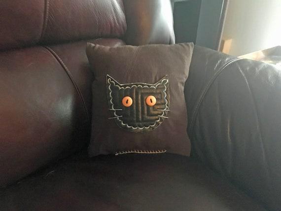 Repurposed Fabric Cat Head Pillow Black on Brown