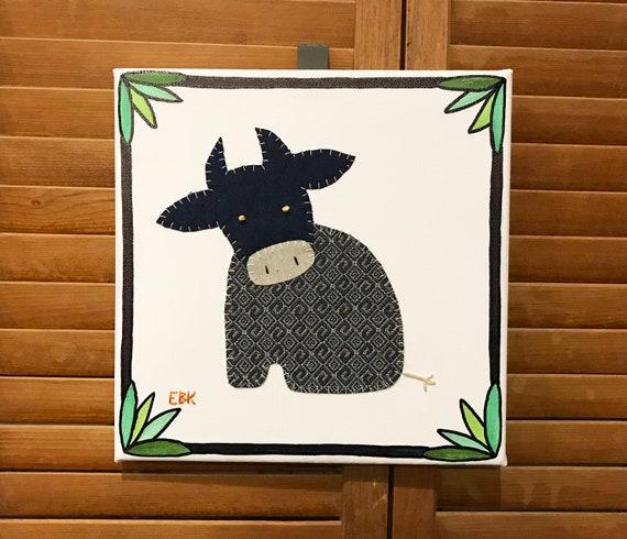 Sitting Cow #4 Fabric Wall Art