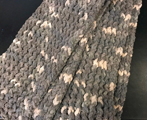 Super Soft Gray and White Scarf