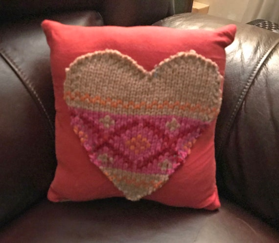 Sweater Heart on Poppy Red Repurposed Clothes Pillow