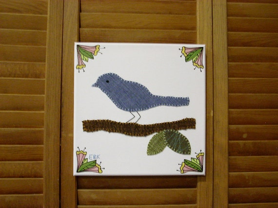 Bird on Branch #3 Fabric Wall Art