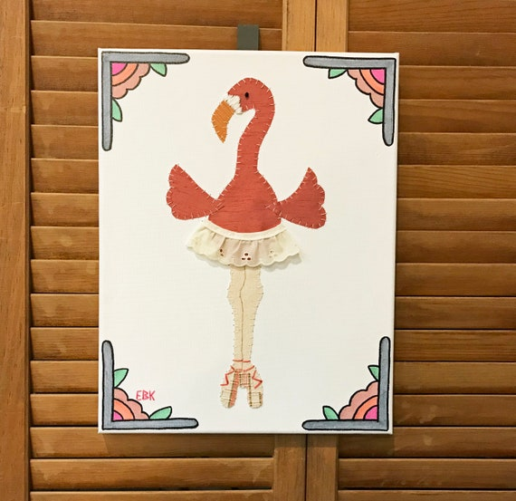Dancing Flamingo #7 Fabric Wall Art
