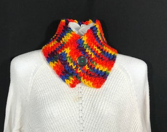 Collar Scarf-Rainbow with Vintage Button