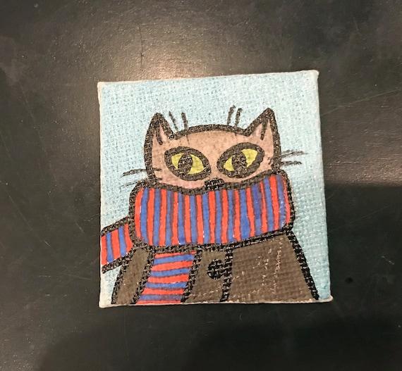 Winter Cats V.1 #1 Tiny Magnet Original Illustration