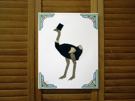 Ostrich #2 Fabric Wall Art