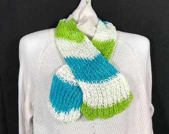Cross Scarf-Aqua, White and Green Loose Knit