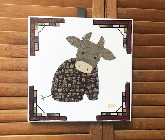 Sitting Cow #5 Fabric Wall Art