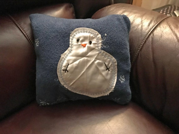 Snowman Repurposed Clothes Pillow Satin on Blue Fleece