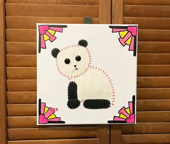 Sitting Panda #2 Fabric Wall Art