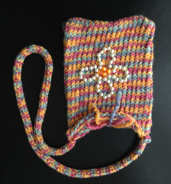 Pink and Orange Multi Knit Bag with Bead Flower