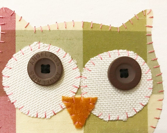 Owl Head #7 Fabric Wall Art