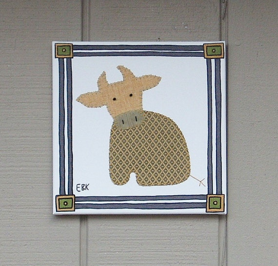 Sitting Cow #3 Fabric Wall Art