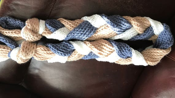 Blue, Tan and White Large Braid Hand Knit Scarf