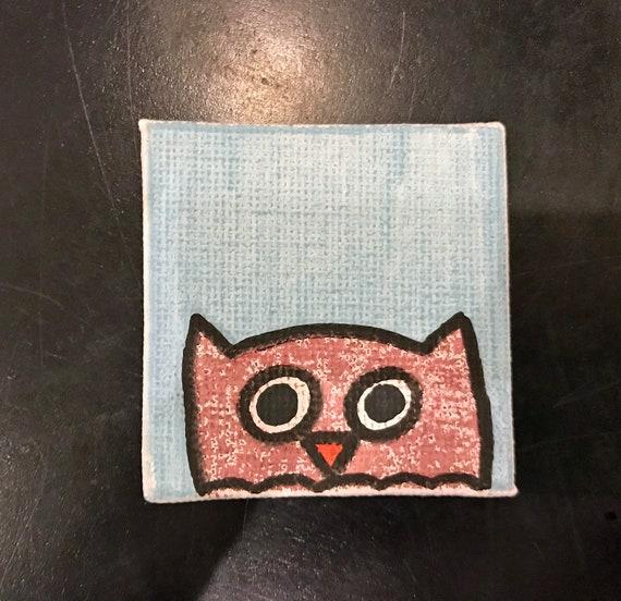 Owls 2018 #7 Tiny Magnet Original Illustration